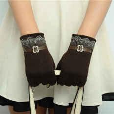 Jual Fashion Wanita Sarung Tangan Layar Sentuh Lacework Sarung Tangan Hangat Coklat Gelap Lalang Internasional Di Bawah Harga