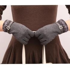 Jual Lalang Fashion Women Touch Screen Gloves Lacework Warm Mittens Dark Grey Intl Branded Murah