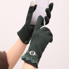 Beli Lalang Busana Wanita Layar Sentuh Sarung Tangan Lacework Hangat Mittens Hijau Intl Cicil