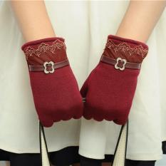 Diskon Lalang Fashion Wanita Sarung Tangan Layar Sentuh Lacework Sarung Tangan Hangat Merah Anggur International Lalang