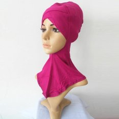 LALANG Islam Leher Kepala Bonnet Topi Muslim Full Cover Jilbab Cap (Rose)-Intl
