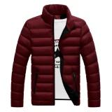 Harga Lalang Korea Pria Musim Dingin Hangat Jaket Empuk Ritsleting Outdoor Cotton Padded Jacket Anggur Merah Intl Termahal