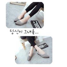 Harga Lalang Wanita Pointed Toe Loafe Flat Shoes Grey Intl Asli