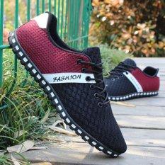 Toko Lalang Men Busana Dilengkapi Ventilasi Mesh Datar Sepatu Berolahraga Men Jogging Sepatu Merah Intl Di Tiongkok