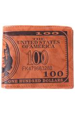 LALANG Men US Dollar Bill Wallet Brown PU Kulit Bifold Kartu Kredit Foto Holder-Coklat Muda