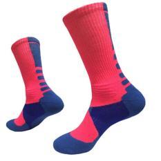 LALANG Laki-Laki Kaus Kaki Olahraga Bola Basket Profesional Elite Kaus Kaki Olahraga Luar Ruangan Berwarna Merah Muda & Biru