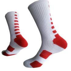 LALANG Laki-Laki Kaus Kaki Olahraga Bola Basket Profesional Elite Kaus Kaki Kolam Kaus Kaki Olahraga Putih & Merah