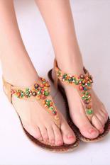 Promo Lalang Model Flat Sandal Manik Manik Kuning Akhir Tahun