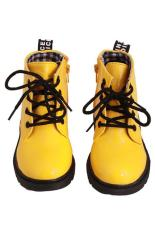 Review Tentang Lalang Fashion Baru Children Martin Unisex Tema Kotak Kotak Sepatu Sneakers Sepatu Bot Kuning