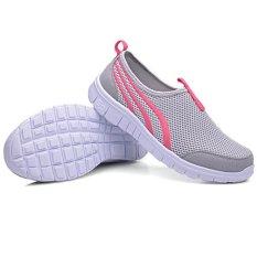 LALANG Sepatu Wanita Fashion Kasual Terbaru Murah Sepatu Jalan Flat Berpori Abu-abu Muda (Intl)