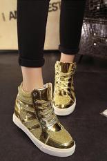 Jual Lalang New Flat Shiny Lace Wanita Sepatu Kasual Meningkat Sepatu Emas Branded Murah
