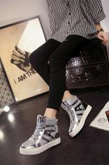 Beli Lalang New Flat Shiny Lace Wanita Sepatu Kasual Meningkat Sepatu Silver Intl Secara Angsuran