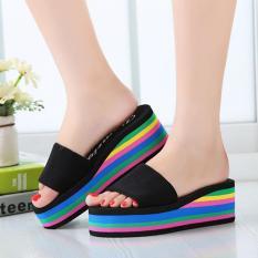 Spek Lalang Fashion Wanita Baru Bertumit Tinggi Sandal Tebal Bawah Sandal Pelangi Hitam Intl Tiongkok