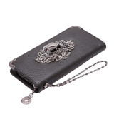 Review Pada Lalang Pu Leather Punk Zipper Skull Wallet Purse Card Holder Black