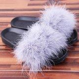 Ulasan Lalang S*xy Wanita Fluffy Bulu Sandal Flip Jepit Musim Panas Flat Shoes Grey Intl