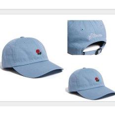 Snapback Bisbol Topi Bordir Bunga Melengkung Drake Sanpback Hip Hop Hat (biru) LALANG-Intl
