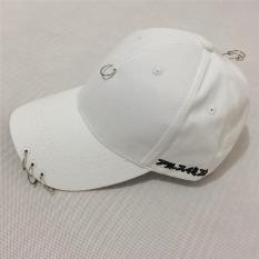 LALANG Unisex Topi Baseball Fashion Jepang Tiga Cincin Topi (putih)-International