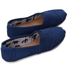 Tips Beli Lalang Adapula Solid Flat Sepatu Kanvas Sepatu Kasual Santai Pasangan Loafers Nyaman Mengenakan Sepatu Biru