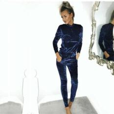 Model Lalang Velvet Long Sleeve Sport Women Tracksuits Dark Blue Intl Terbaru