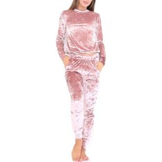 Cara Beli Lalang Velvet Long Sleeve Sport Women Tracksuits Pink Intl