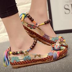 Spesifikasi Lalang Wanita Beading Putaran Kaki Bersulam Sepatu Lace Up Peningkatan Datar Sepatu Dan Harganya