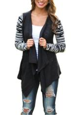 Lalang Wanita Cardigan Knitwear Lengan Panjang Rajutan Sweater Tops Hitam Asli
