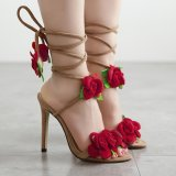 Dimana Beli Lalang Wanita Cross Lace Up High Heels Seksi Rose Bunga Rose Terbuka Jempol Sandal Apricot Intl Lalang