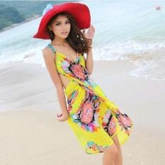 LALANG Wanita Deep V Wrap Chiffon Swimwear Bikini Cover Up Beach Dress (Kuning)