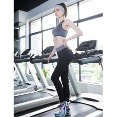LALANG Wanita Elastis Ikat Pants Legging Peregangan Latihan Kebugaran Sports Pants Panjang (hitam)-