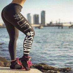 LALANG Wanita Pinggang Elastis Skinny Slim Fitness Pants HIDUP SQUAT Letter Cetak Legging (Arang)