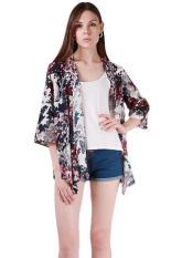 Obral Lalang Wanita Floral Kimono Blus Terbuka Depan Tops Multicolor Intl Murah