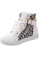LALANG Wanita High Cut Sneakers Leopard Kasual Putih