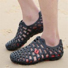 Beli Lalang Wanita Lubang Sandal Musim Panas Plastik Pantai Jelly Sepatu Pasangan Hitam Intl Kredit Tiongkok