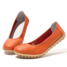 LALANG PU Flat Wanita Sepatu Kulit Sepatu Boat Mengenakan Fashion Loafers Jeruk-ต่างประเทศ