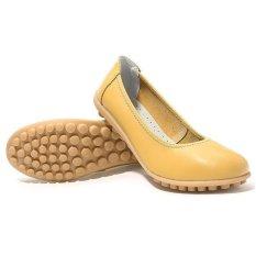 Review Toko Lalang Pu Flat Wanita Sepatu Kulit Sepatu Boat Mengenakan Fashion Loafers Kuning