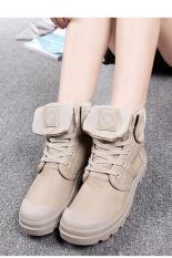 LALANG Wanita PU Martin Boots Tinggi Potong Tabung Down Sepatu Khaki