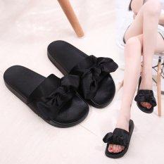 Harga Lalang Wanita Sutra Sandal Datar Tumit Flip Jepit Musim Panas Pantai Sepatu Hitam Intl Lalang Original