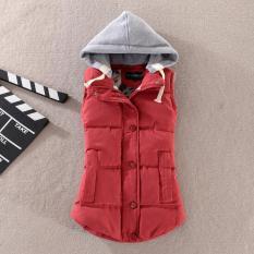 Harga Lalang Wanita Slim Tanpa Lengan Hooded Pinggang Tops Musim Gugur Musim Dingin Anggur Merah Merk Lalang