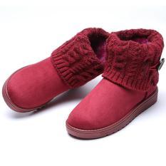 Beli Lalang Wanita Sepatu Bot Salju Musim Dingin Hangat Pergelangan Kesemek Sepatu Bot Pendek Sepatu Platform Merah Anggur Baru