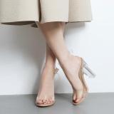 Jual Beli Online Lalang Women Summer Transparent Sandal Thick High Heeled Crystal Shoes35 Apricot Intl