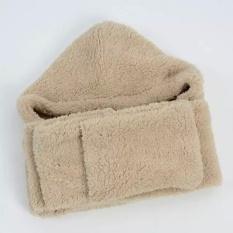 Jual Cepat Lalang Wanita Musim Dingin Hangat Fleece Hood Syal Jaring Rambut Pocket Hat Khaki Intl