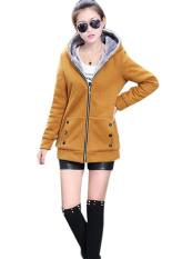 Jual Lalang Katun Hoodie Wanita Bulu Mantel Pakaian Jaket Kuning Murah