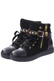 Beli Lalang Ritsleting Gesper Rivet Sneakers Olahraga Boots Sepatu Hitam Kredit Tiongkok