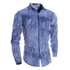 Iklan Lanbaosi Cotton Square Collar Shirt Untuk Pria Fashion 3D Teknologi Pencelupan Lengan Panjang Slim Fit Deep Blue Intl