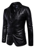 Jual Lanbaosi Men S Casual Pu Faux Leather Jacket Slim Fit Dua Tombol Blazer Jaket Intl Di Tiongkok