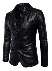 Jual Lanbaosi Men S Casual Pu Faux Leather Jacket Slim Fit Dua Tombol Blazer Jaket Intl Lanbaosi Murah