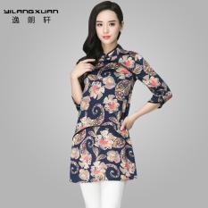 Diskon Lang Yi Xuan Musim Semi Dan Musim Gugur Baru Wanita Ukuran Besar Longgar T Shirt Kostum Biru Baju Wanita Baju Atasan Kemeja Wanita