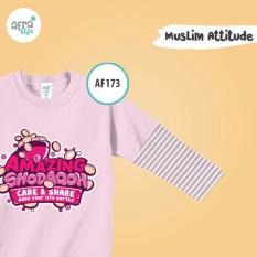 Aria Baju Kaos Anak Afrakids / Baju Kaos Anak Cewek / Baju Kaos Lengan Panjang Perempuan / AF173 - Pink