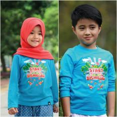 Aria Baju Kaos Anak Afrakids / Baju Kaos Anak Unisex / Baju Kaos Lengan Panjang Cowok Cewek / AF178 - Biru