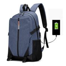 Laptop Ransel, bisnis Air Tahan Perjalanan Tas Ransel dengan USB Pengisian Port Cocok Dibawah 17-Inci Laptop dan Buku Catatan (Biru) -Internasional